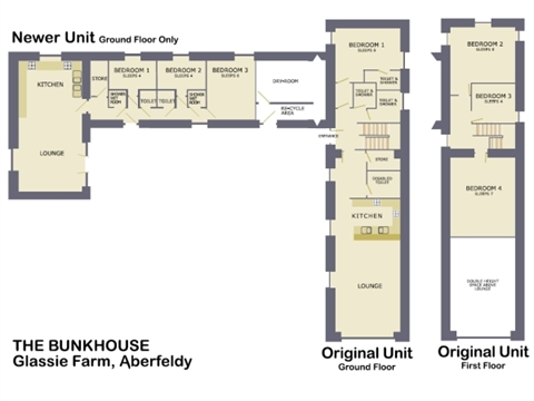 Scottish holiday cottages self catering in perth fife Bunkhouse floor plans